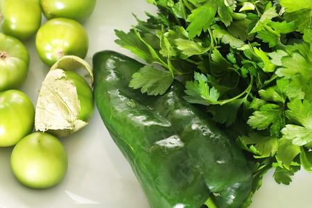 tomatillo salsa ingredients Reklamní fotografie