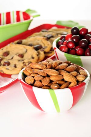 almonds & cranberries with cookies vertical Stock Photo - 7356858