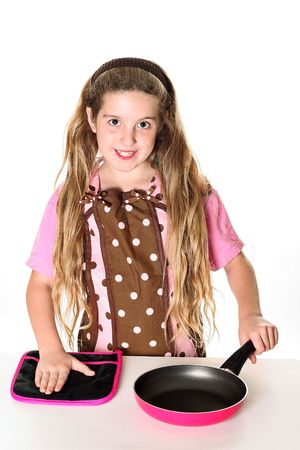 little chef with apron ready to cook