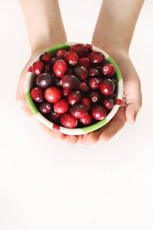 child holding a bowl of fresh cranberries vertical