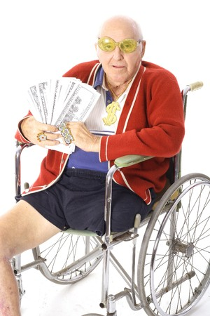 disability insurance: uomo di handicap con un sacco di soldi