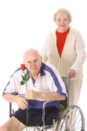 handicap senior with wife photo