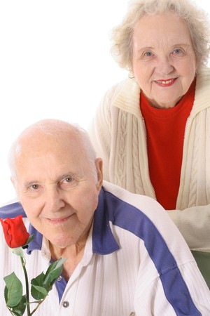 senior couple with a rose photo