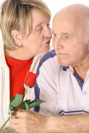 happy senior kisses Reklamní fotografie