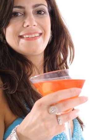 woman with cocktail side Reklamní fotografie