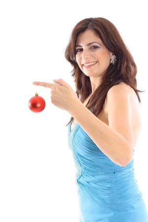 woman holding ornament on white vertical