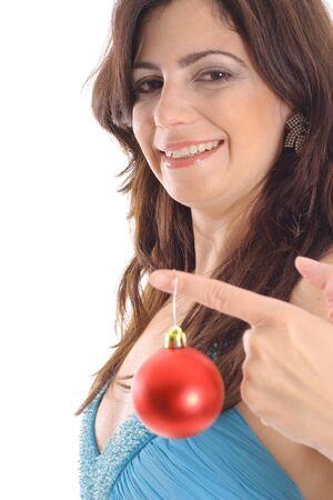 woman holding Christmas ornament