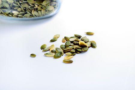 pumpkin seeds on white