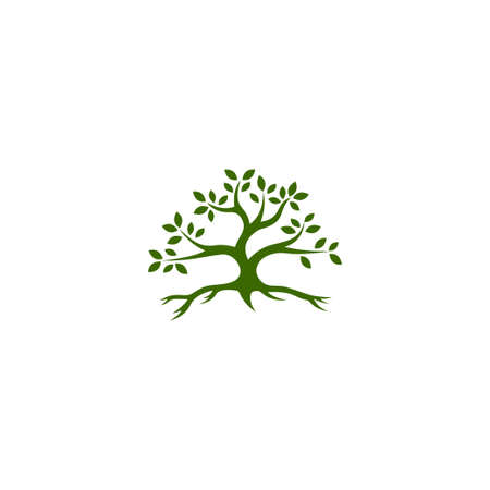 Root Of The Tree logo illustration. Vector silhouette of a tree. Vettoriali