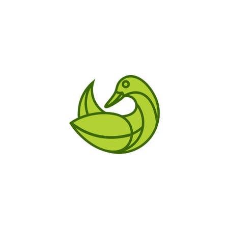 Goose Leaf Logo Design Template Inspiration, Vector Illustration, Swan Logo 向量圖像