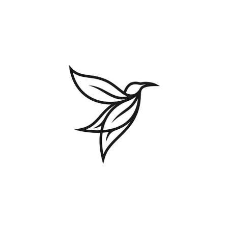 bird leaf logo vector icon template download mono-line color line art outline Ilustrace