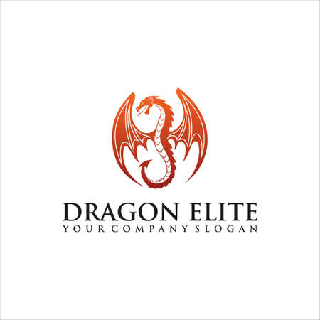 Dragon logo, Business card Elements for Brand Identity,Vector template. Head dragon flat color logo template vector design.