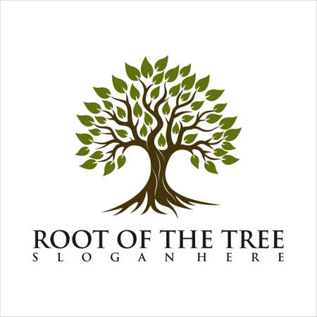 Root Of The Tree logo illustration. Vector silhouette of a tree. Logo Template. An illustration of two trunk twisting each other in a helix. Vector illustration nature tree.