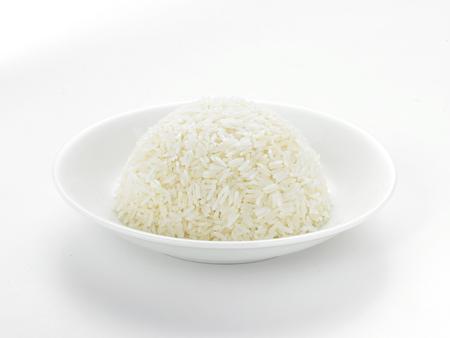 asia food: Dish full of rice on white background Stock Photo