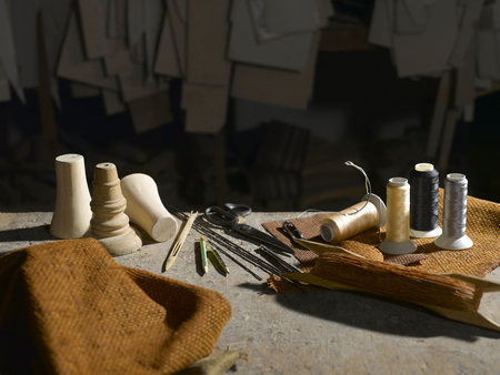 Sofa sewing tools on the table