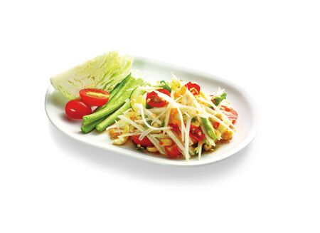asia food: Thai spicy food on white background