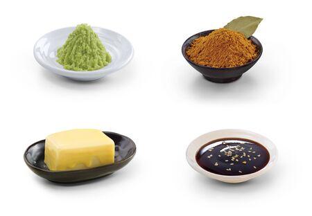 seasoning: Food seasoning isolated on white background.