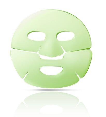 máscara facial verde hoja con sombra, aislado en fondo blanco. Foto de archivo