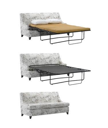 white sofa: Folding sofa bed isolated on white background.