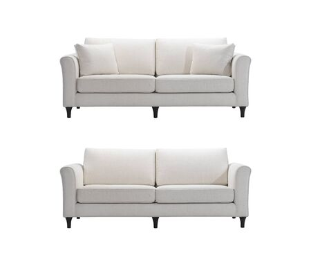 clipping: White sofas isolated with clipping mask.