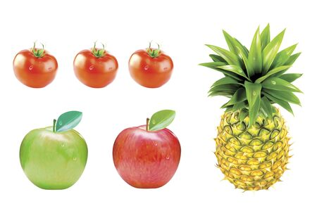 Fruits and vegetables isolated on white background, 3D illustration.