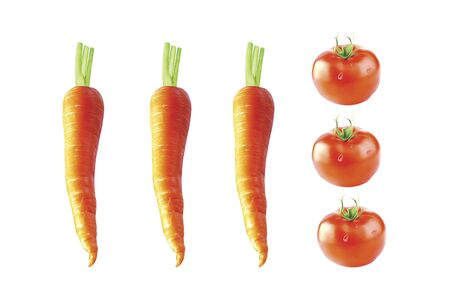 carrots isolated: Carrots and tomatoes isolated on white background, 3D illustration. Stock Photo