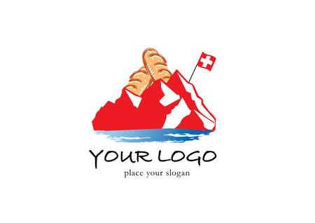 Bakery and mountain vector for logo design.