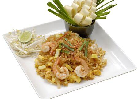 Thai style fried noodle isolated on white background.