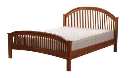Wooden bed isolated on white background with clipping path. Stock Photo