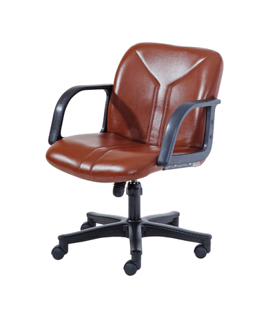 Brown swivel chair isolated on white background with clipping path.