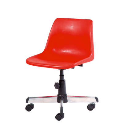 Red swivel chair isolated on white background with clipping path.