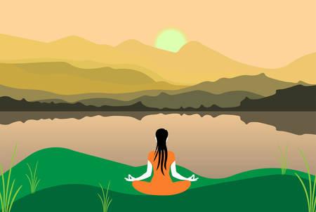 International Yoga Day 21st June vector illustration a theme people doing yoga in a mountainous region Çizim