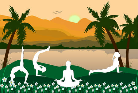 International Yoga Day 21st June vector illustration a theme people doing yoga in a mountainous region