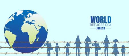 World Refugee Day. Concept of social event. 20 June-vector. International immigration concept background. Flat illustration or vector concept background for web design, banner or card. Vektorgrafik