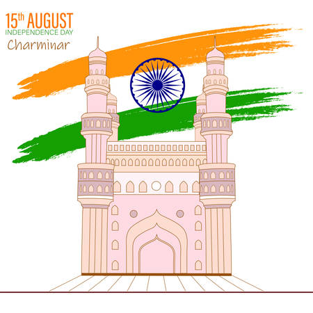 Illustration of famous Indian monument saffron and green color brush background for Happy Independence Day celebration 15th august vector design
