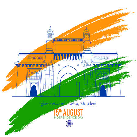 Illustration of famous Indian monument saffron and green color brush background for Happy Independence Day celebration 15th august concept design  イラスト・ベクター素材