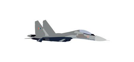 Ilustración de vector de avión de combate sukhoi su-30