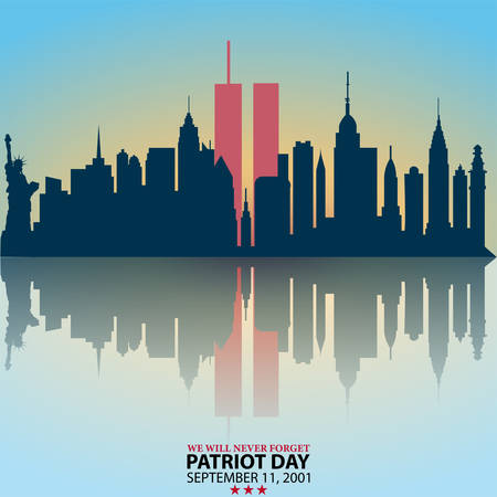 New York City Skyline with Twin Towers. 09.11.2001 American Patriot Day anniversary banner. Vector illustration. USA Patriot Day banner. World Trade Center. We will never forget you. Vecteurs