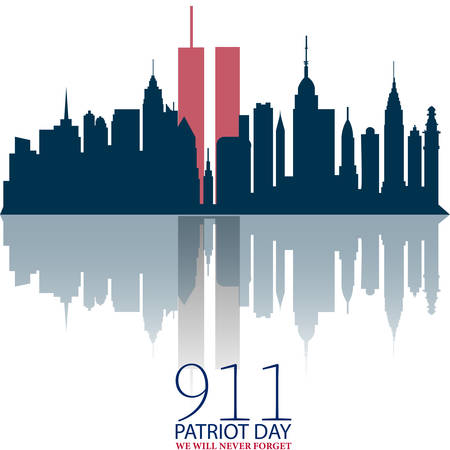 New York City Skyline with Twin Towers. 09.11.2001 American Patriot Day anniversary banner. Vector illustration. USA Patriot Day banner. World Trade Center. We will never forget you.