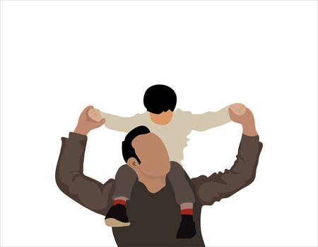 Father playing with a child vector illustration. Father giving son ride on back in park. Happy father giving son piggyback ride on his shoulders and looking up. Cute boy with dad playing outdoor.