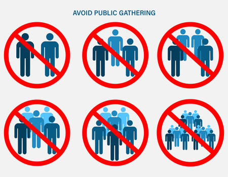 Ban on gathering. Prohibition of assembly for two, three, four, five, six or more people. Social Distancing Keep Your Distance 6 Feet Icon. Isolated vector illustration on white background.