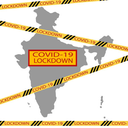 India national delhi state lockdown due to coronavirus crisis covid-19 disease. India under lockdown with delhi map Concept of India national lockdown due to coronavirus crisis covid-19 disease. Ilustração