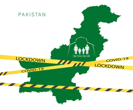 Coronavirus cell with Pakistan flag and map. Stop COVID-19 sign, pakistan lockdown preventing coronavirus spread or outbreak.
