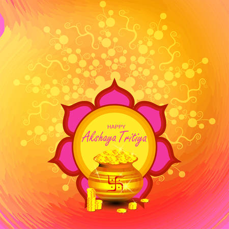 Indian Religious Festival Akshaya Tritiya Background Template Design with Floral Ornament - Akshaya Tritiya Background Design. Indian festival where people buy Gold jewellery vector illustration Vettoriali