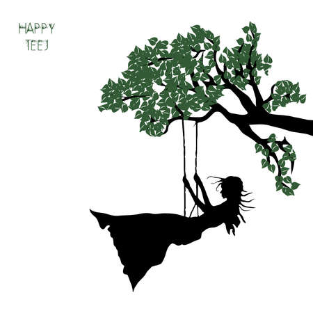 Vector Illustration of background for the occasion of religious festival Teej. woman swing, worship of lord shiva a festival celebrated in India