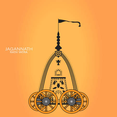 Vector Illustration of Ratha Yatra of Lord Jagannath is also known as Bahuda Jatra, innovative Vector design of Ratha Yatra of Lord Jagannath, Balabhadra and Subhadra on Chariot Illustration