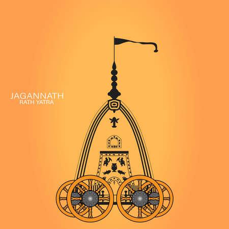 Vector Illustration of Ratha Yatra of Lord Jagannath is also known as Bahuda Jatra, innovative Vector design of Ratha Yatra of Lord Jagannath, Balabhadra and Subhadra on Chariot Ilustracja