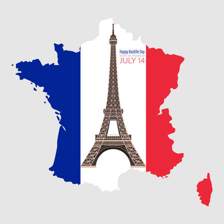 Eiffel Tower Black Silhouette Vector Illustration. Happy Bastille Day, 14 July. Viva France National Day. Vector Illustration. Suitable for poster, banner, campaign, and greeting card 스톡 콘텐츠 - 150026355