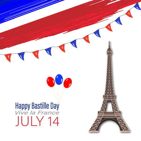 Eiffel Tower Black Silhouette Vector Illustration. Happy Bastille Day, 14 July. Viva France National Day. Vector Illustration. Suitable for poster, banner, campaign, and greeting card 스톡 콘텐츠 - 150026359