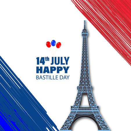 Eiffel Tower Black Silhouette Vector Illustration. Happy Bastille Day, 14 July. Viva France National Day. Vector Illustration. Suitable for poster, banner, campaign, and greeting card